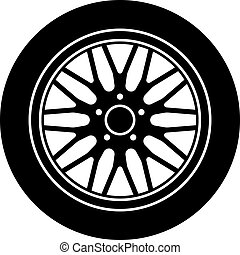 ruota, alluminio, automobile, simbolo, vettore, nero, bianco