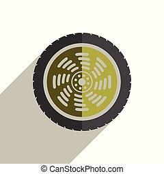 ruota, appartamento, icone, automobile, illustrazione, vettore, shadow.