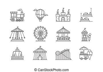 ruota, appartamento, set, attractions., lineare, elements., icone, parco, circo, isolato, fondo., vettore, oggetti, bianco, ferris, divertimento, carosello