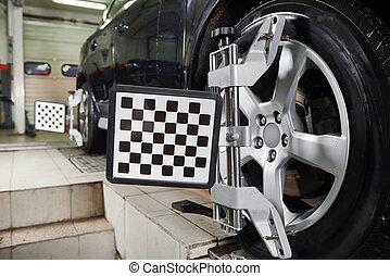 ruota, automobile, allineamento, automobile