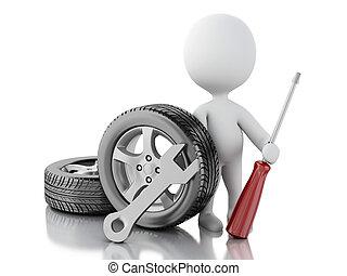 ruota, Automobile, bianco,  3D, Persone