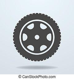 ruota, automobile, icon., rim., pneumatico