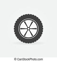 ruota, automobile, segno, vettore, pneumatico, o, icona