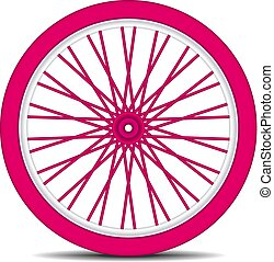 ruota bicicletta, in, rosa, disegno, con, uggia