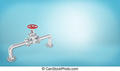 ruota, blu, fondo., cromo, valvola, tubo, interpretazione, curvo, pezzo, rotondo, rosso, 3d