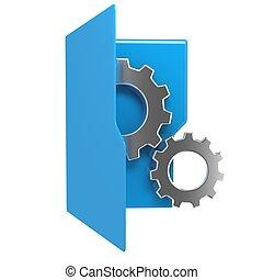 ruota blu, ingranaggio, illustrazione, cartella, icona, 3d