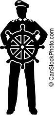 ruota, capitano, silhouette, direzione