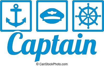 ruota, captain's, icone, -, ancorare, capitano, cappello, direzione