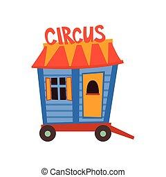 ruota, carro, circo, illustrazione, roulotte, vettore, cartone animato