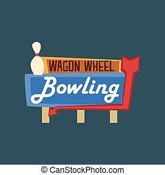 ruota, carro, strada, cartello, bowling, illustrazione, vettore, retro, vendemmia, bandiera