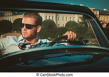 ruota, classico, giovane, fiducioso, dietro, ricco,...