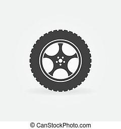 ruota, concetto, automobile, vettore, pneumatico, icona