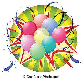 ruota, coriandoli, filatura, palloni