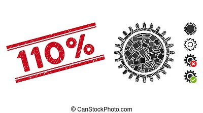 ruota dentata, graffiato, 110%, mosaico, francobollo, sigillo, linee