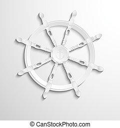 ruota, direzione, mare, logotipo, ancorare, design.