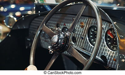 ruota, direzione, primo piano, automobile., vendemmia