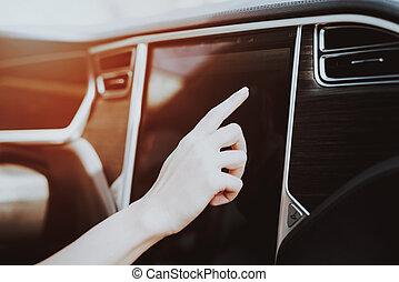 ruota, donna, tesla, concept., dietro, automobile.