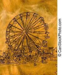 ruota, dorato, astratto, illustrazione, ferris
