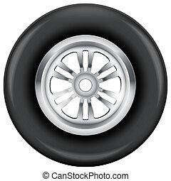 ruota, e, pneumatico, simbolo