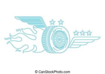 ruota, emblema, servizio, fuoco, auto, fiamma, automobile, ali