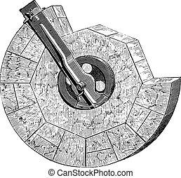 ruota, essendo, fabbricato, con, il, regola, bussola, vendemmia, engraving.