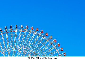 ruota ferris, con, cielo blu