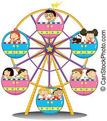 ruota, ferris, felice, bambini, sentiero per cavalcate