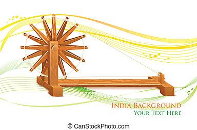 ruota, filatura, india, fondo