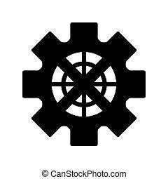 ruota, ingranaggio, icona