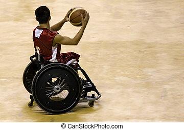 ruota, invalido, sedia, pallacanestro