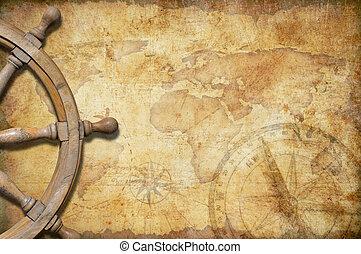 ruota, mappa, tesoro, invecchiato, direzione