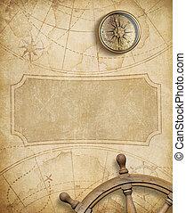 ruota, mappa, vecchio, nautico, bussola, direzione
