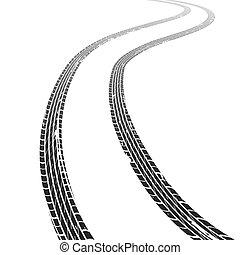 ruota, marcatura, grunge, pneumatico, traccia, struttura, gomma, piste, corsa, automobile., sporco, orizzonte, veicolo, motocross, velocità, strada