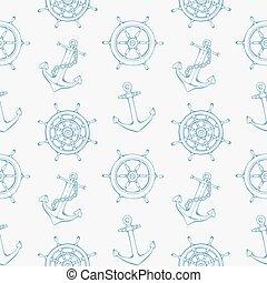 ruota, modello, direzione, mare, nave, ancorare
