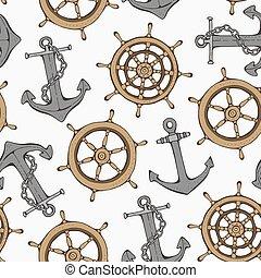 ruota, modello, seamless, ancorare, nave, direzione