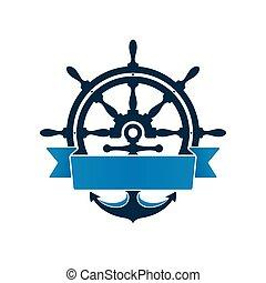 ruota, nave, ancorare, etichetta