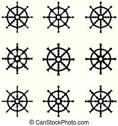 ruota, nave, set, icona