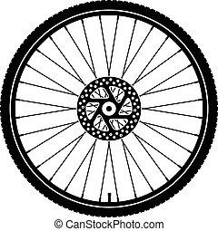 ruota, nero, bicicletta, silhouette, vettore