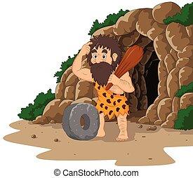 ruota, pietra, caveman, caverna, fondo, inventing, cartone animato