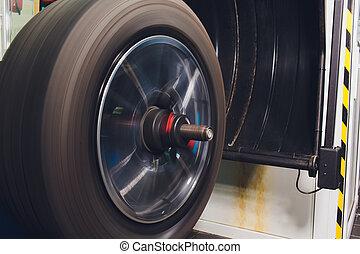ruota, pneumatico, installs, automobile, balancer, bilanci, workshop., tubeless, riparatore