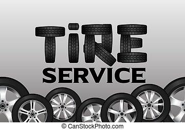 ruota, pneumatico, servizio, border., automobile, seamless, disegno, fondo, disco, lucente