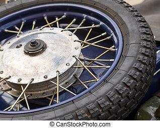 ruota, primo piano, pneumatico, vendemmia, metallo, motocicletta, automobile, spokes