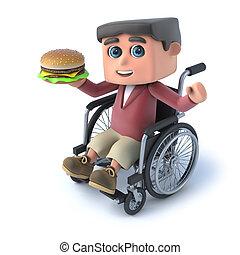 ruota, ragazzo, mangiare, hamburger, sedia, 3d