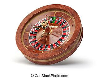 ruota, roulette, casinò, isolato, fondo., bianco