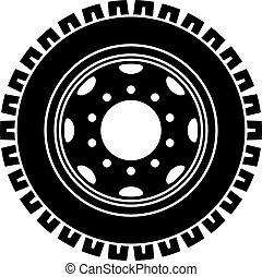 ruota, simbolo, vettore, camion, nero, bianco