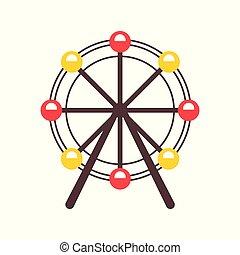 ruota, stile, ferris, simbolo, isolato, illustrazione, fondo., vettore, attrazione, bianco, cartone animato, icona