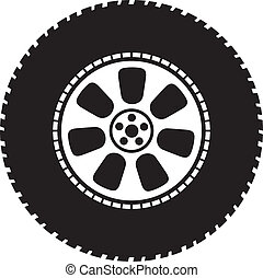 ruota, vettore, -, pneumatico
