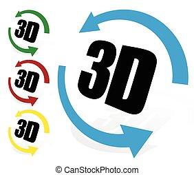 ruotare, grado, giro, virtuale, elemento, vista., 3d, 3d.,...