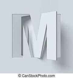ruotato, font, lettera, ritagliare, m