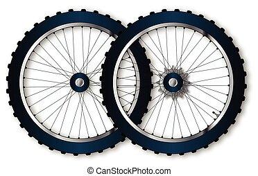 ruote, bicicletta, due